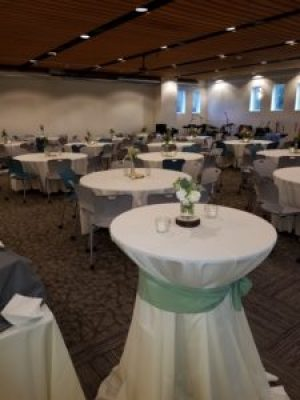 Our church event center set up for wedding reception rental