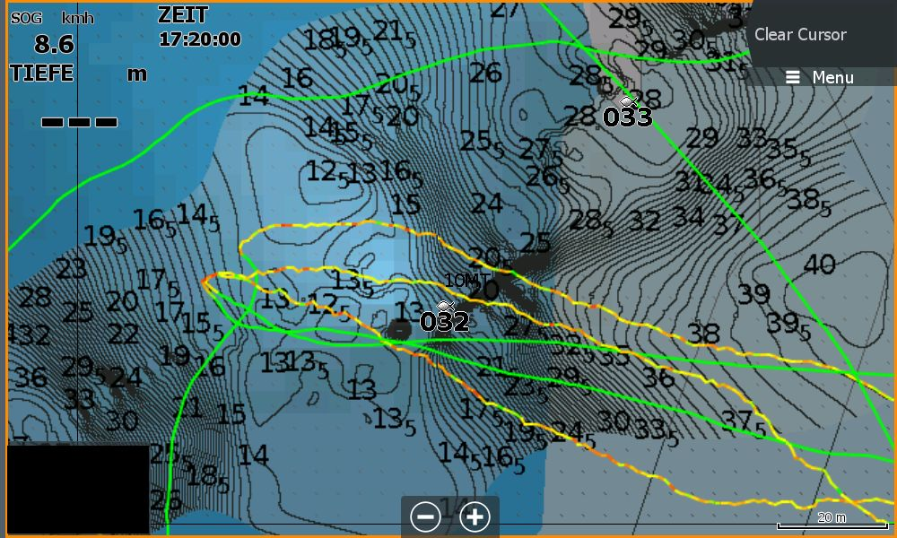Bild (6) Test Navionics Sonarcharts Live angeln in norwegen Tracklinien