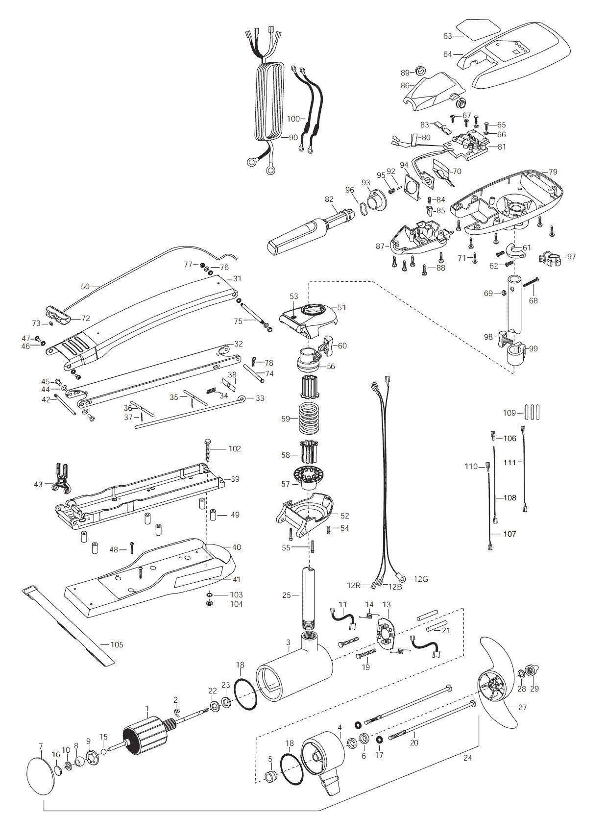 Minn Kota Riptide 101 52 Inch Parts