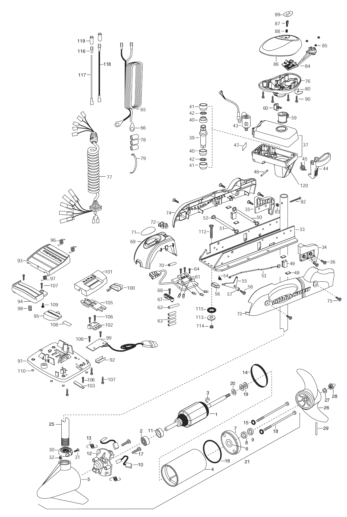 Minn Kota Riptide Autopilot 65 54 Inch Parts