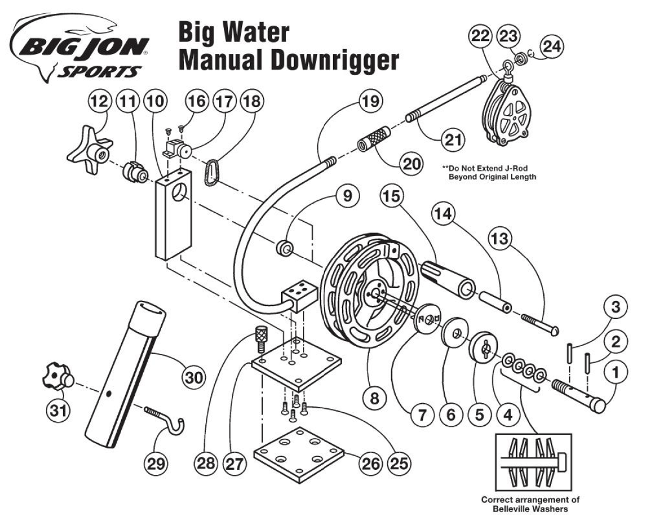 Big Jon Big Water Manual Downrigger Parts