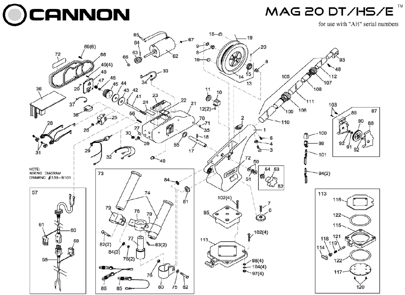 Order Cannon Metric Mag 20 Dt Hs Electric Downrigger Parts