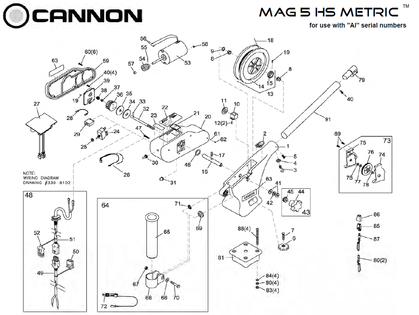 Order Cannon Metric Mag 5 Hs Electric Downrigger Parts