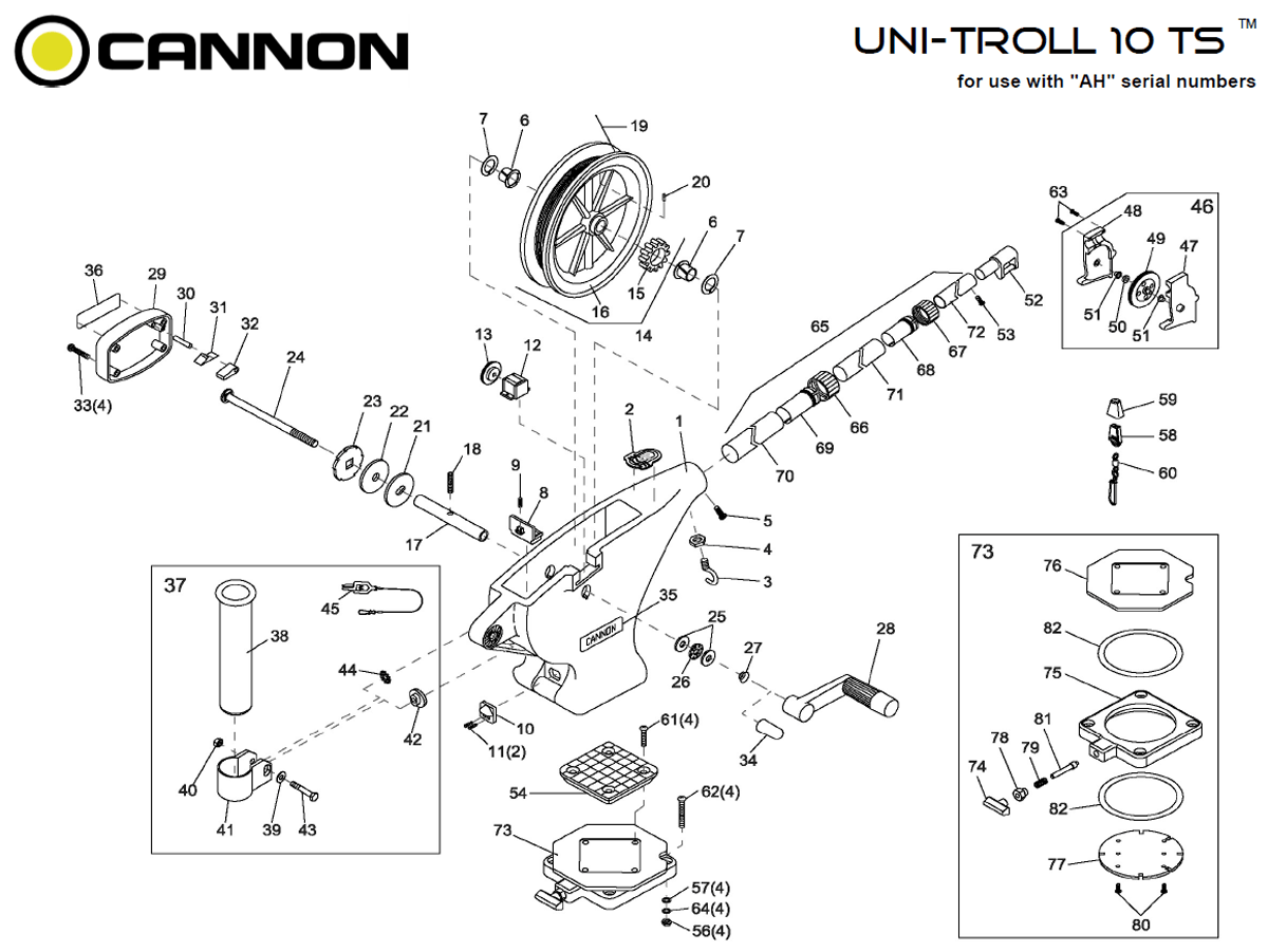 Order Cannon Uni Troll 10 Ts Manual Downrigger Parts From