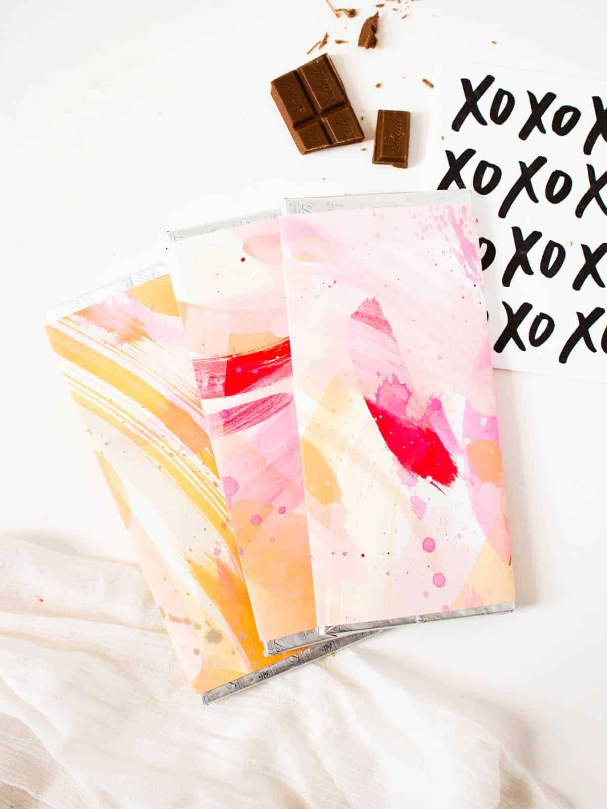 DIY Painted Chocolate Bars For Valentines Day Fish Amp Bull