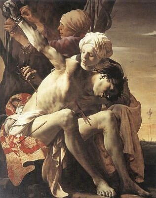 St Sebastian Tended by St. Irene and her Maid, by Hendrick Terbrugghen, 1625
