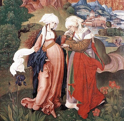The Visitation, by Master MS, 1506 (detail). The iris and peonies are symbols of Our Lady, whose hand St. Elizabeth kisses.