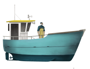 Fisher Manolin and his boat