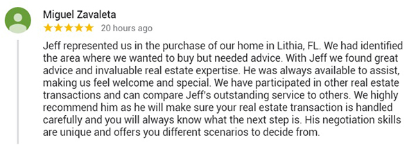 Jeff Gould Google My Business Realtor Testimonial by Miguel Z