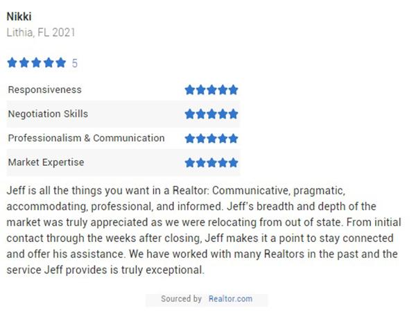 Jeff Gould Realtor.com Testimonial for Realtor Jeff Gould by Nikki
