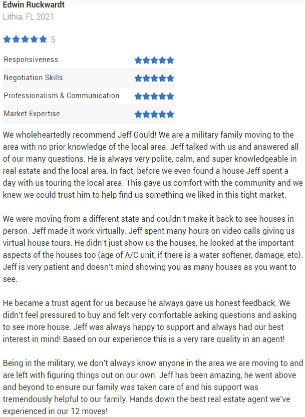 Jeff Gould Realtor.com Review Testimonial for Jeff Gould FishHawk Realtor