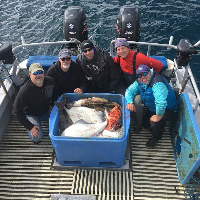 Core Design Team with Capt. Dave Best Halibut, Salmon, Rockfish Charter on Fish N' Chips Charters
