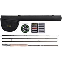 PLUSINNO® Lightweight Ultra Portable Fly Fishing Rod Graphite Pole with 30-ton Toray Carbon Fiber Blanks and Chromed Stainless Steel Snake Guides 4-Piece with Rod Case