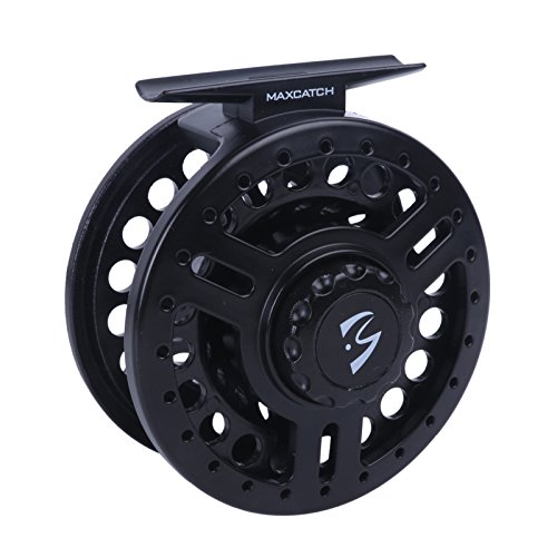 Maxcatch Explorer Large arbor Fly reel,Fly reel with spooled fly fishing line (Black Lightweight Polymeric body) 5/6wt and 7/8wt