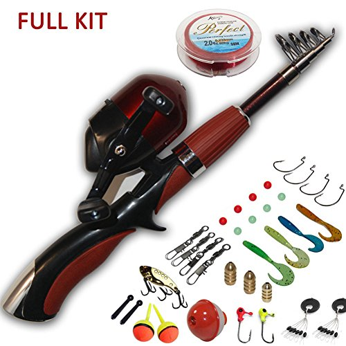 Portable Mini Fishing Rod and Reel Combo Kids Fishing Pole with Fishing line Hooks Lures Floats Weights etc