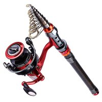 Rod and Reel Combo Carbon Fiber Telescopic Fishing Poles and Spinning Reels Saltwater for Bass Trout