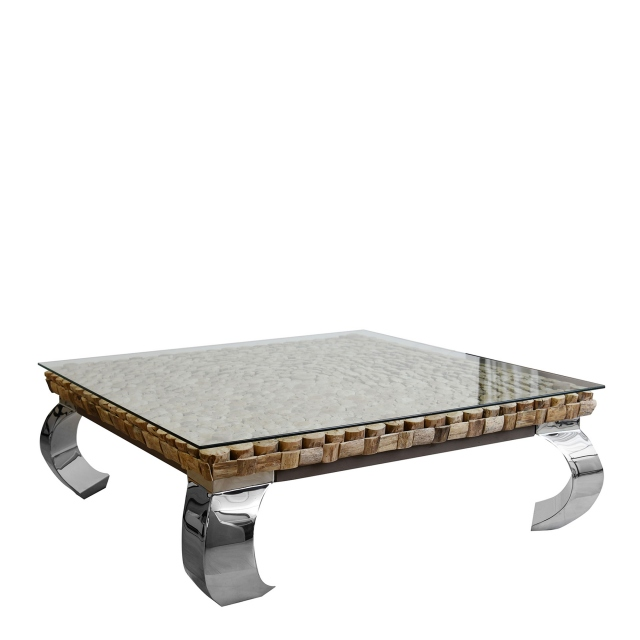 lamay large square driftwood coffee table with stainless steel legs