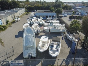 Parking lot with boats