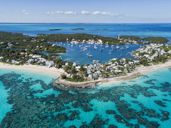 Aerial view of Abaco island, Bahamas