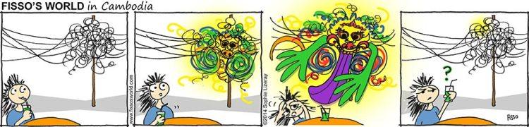Fissos World in Cambodia cartoons strange entangled power cables Kala face
