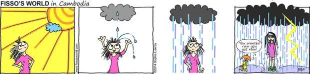 Fissos World in Cambodia cartoons waiting for rain