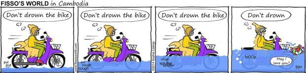 Fissos World in Cambodia cartoons motorbike in monsoon floods