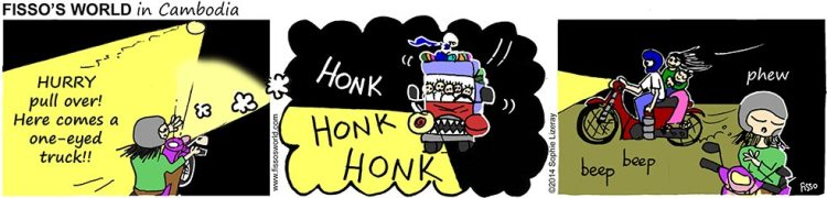 Fissos World in Cambodia cartoons dangerous roads with big trucks at night