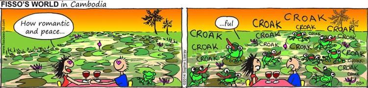Fissos World in Cambodia cartoons romantic date with noisy bullfrogs
