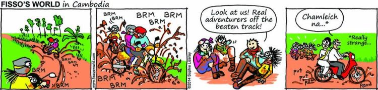 Fissos World in Cambodia cartoons off-road motorbike adventures