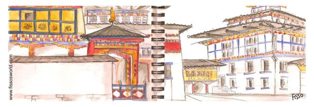 Thimpu TASCHICHHO dzong Bhutan travel cartoon sketch Fissos World