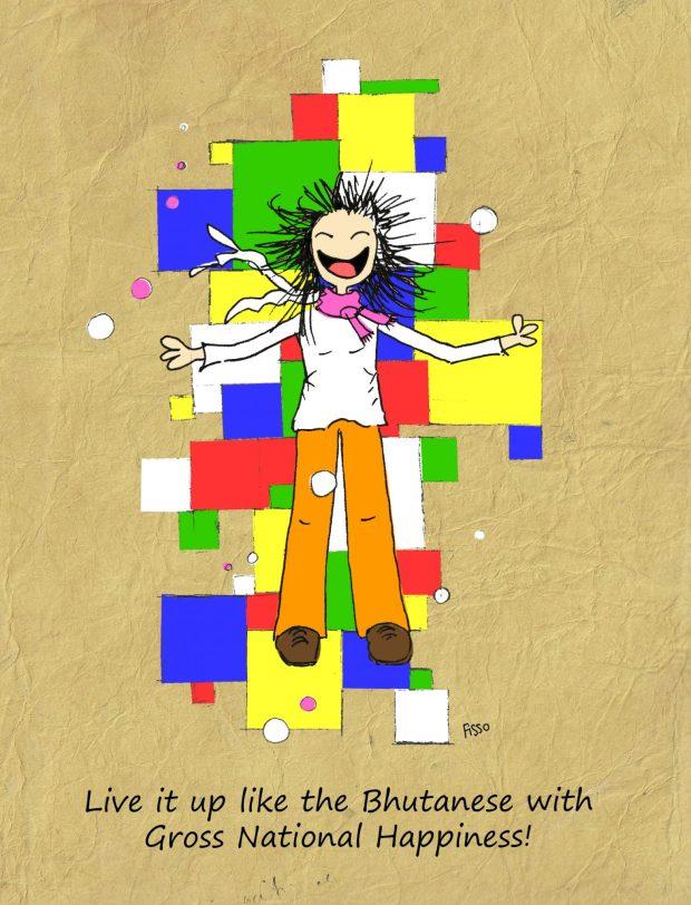 Gross national happiness Bhutan Cartoon Fissos World