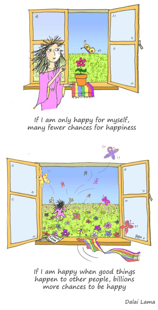 Cartoon words wisdom happiness Dalai Lama quote Fissos World