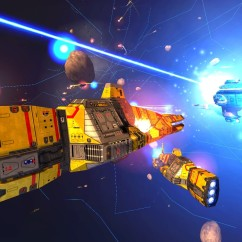 Homeworld Remastered - Screenshot - Taiidan Ion Cannon Frigates in Battle - Gearbox