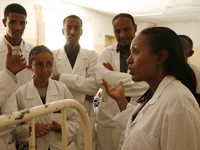 Dr. Mulu Muleta speaks to surgeon trainees at Gondar University Teaching Hospital.