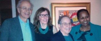 L-R, Professor Peter Singer, Fistula Foundation CEO Kate Grant, Paul Simon, and Fistula Foundation Board Chair, Dr. Sohier Elneil