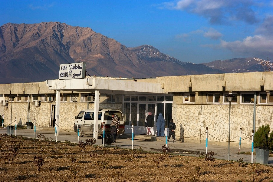 The exterior of CURE International Hospital in Kabul, Afghanistan
