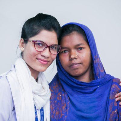 Rohingya fistula survivor Setara Begum, with midwife Beauty Sharma of HOPE Hospital