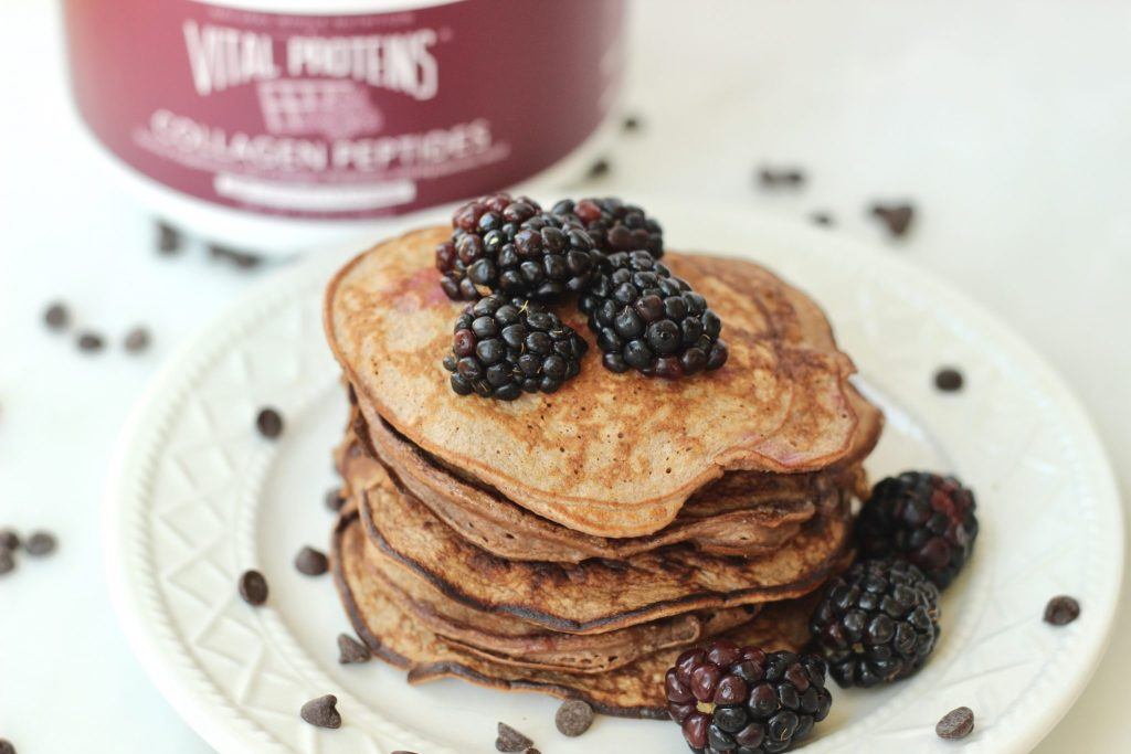These healthy protein pancakes are made with Vital Proteins Dark Chocolate and Blackberry collagen peptides and egg whites for protein and oat flour for some healthy carbs and fiber. Blackberries and chocolate are the perfect pair with just a few mini chocolate chips melted in for a delectable treat that's still healthy enough to qualify as breakfast!