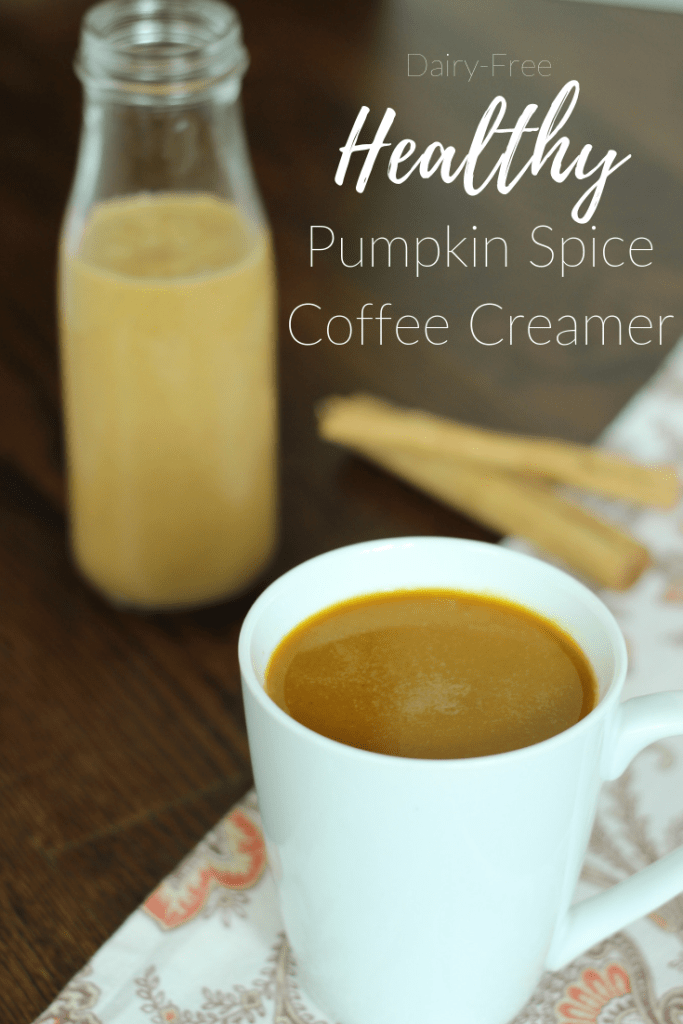 Healthy dairy-free pumpkin spice coffee creamer to make your own fall coffee creation at home without all the extra calories in the Starbucks version.