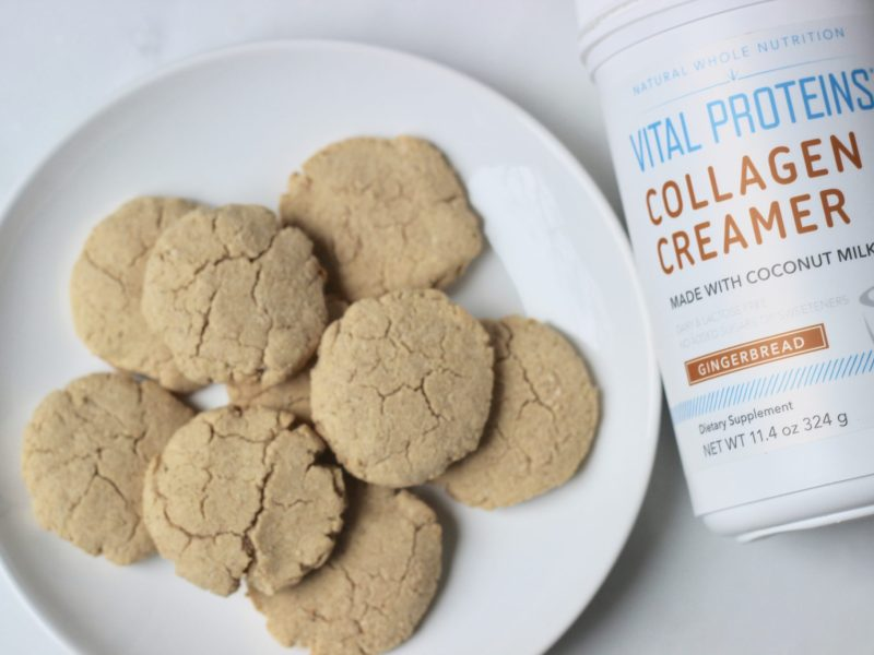 Healthy and Delicious Gingerbread flavored cookies made with Vital Proteins Collagen Creamer for a boost of protein and healthy fats