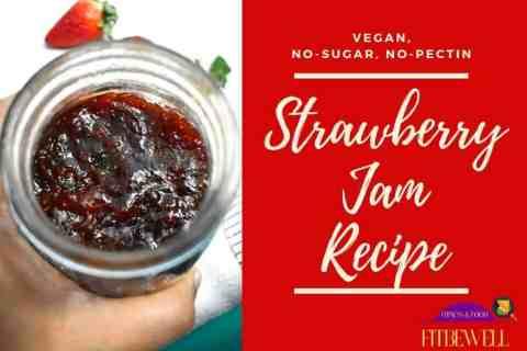 Vegan No Sugar Strawberry jam without preservatives or pectin