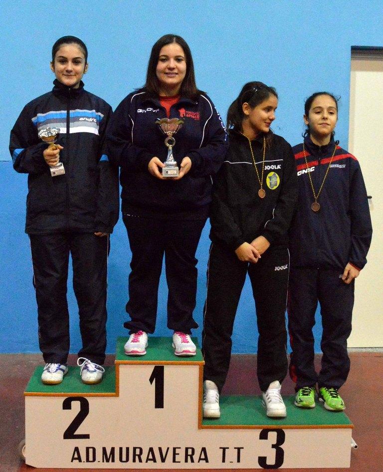 Il podio dei terza femminili (Foto Luciano Saiu)