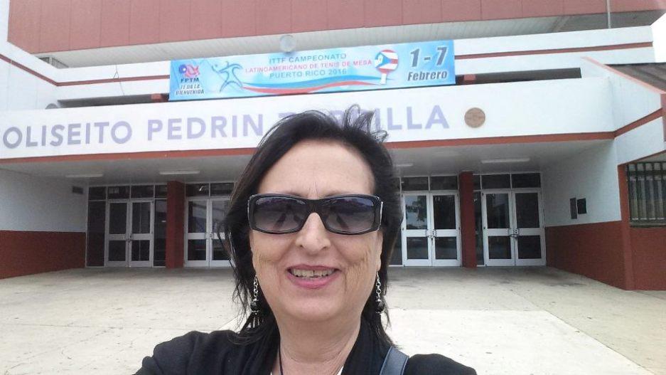 Un selfie dell'arbitro internazionale  Emilia Pulina ai Giochi Latino Americani