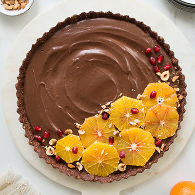 CHOCOLATE & BLOOD ORANGE TART (GF & VEGAN)