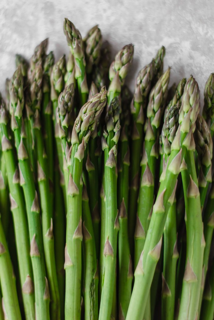Close up shot of green asparagus spears