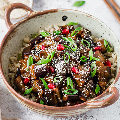 Sticky aubergine - Fit Foodie Nutter