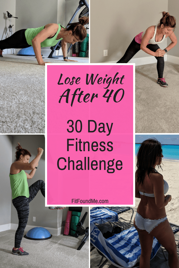 exercises in 30 day fitness challenge and results of lady in swimsuit on beach after 40 weight loss