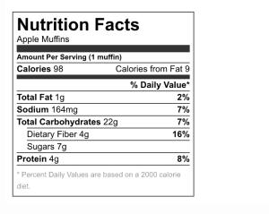 nutritional info apple banana muffins