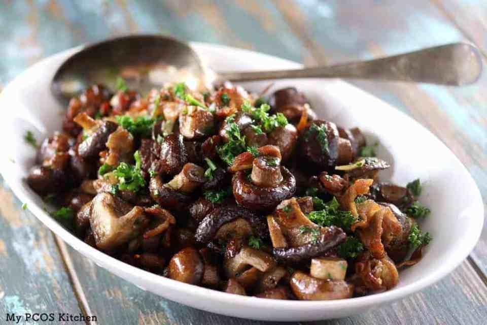 perfectly roasted mushrooms with garnish