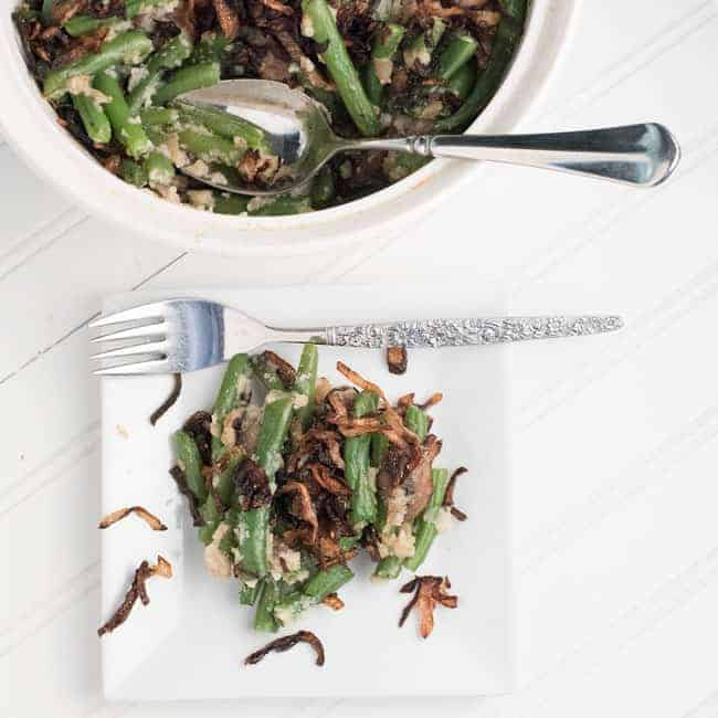 green bean casserole with onions and cauliflower